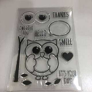 Hello Owl Clear Stamp
