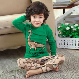 [Ready Stock] Kids Sleepwear for 2 - 12 yrs old - Green Dino