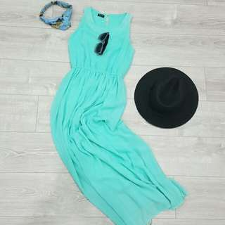 CR - Turquoise long party dress
