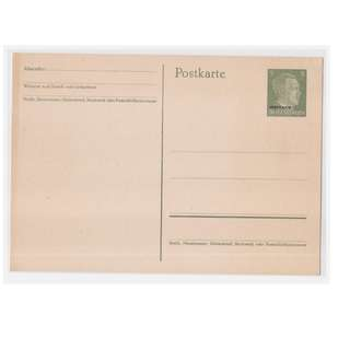 World War II Hitler Head 5 Pfennig Blank Postcard