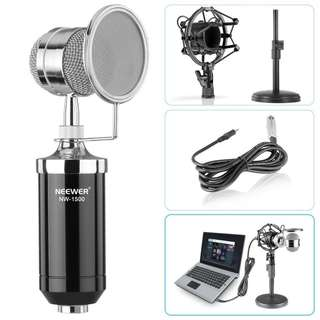Neewer NW-1500 Desktop Broadcast & Recording Condenser Microphone with Audio Cable Bundle with Iron Desktop 4.7 - 7.5- Inch Mic Stand, Metal Shock Mount and Mic Wind Screen Filter Shied