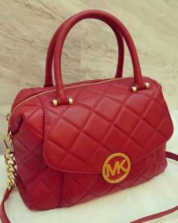 Authentic MICHAEL KORS Large Fulton Quilted Satchel Bag Red