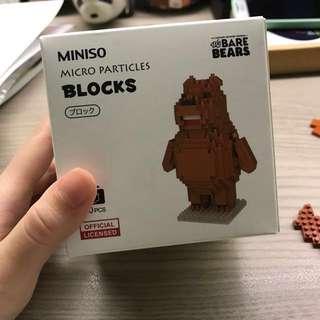 we bare bear grizz miniso nano blocks