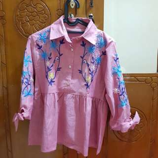 Blouse Baby Doll Pink Flower