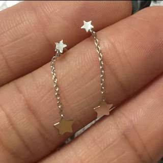 Made in Japan  100% new & real 14K white gold Mini size earring  日本製 全新14K白金 星形 迷你耳釘
