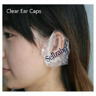 Protection Ears Caps : 5 Pairs Disposable Clear Plastic Covers Sellzabo Bath Showers Home Colour Dye Hair Treatments Protect Protecting Dry