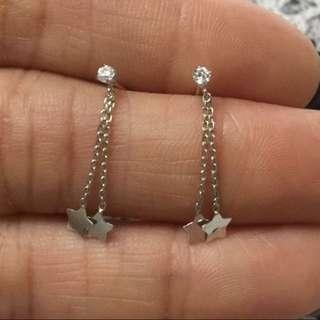Made in Japan  100% new & real14K white gold Mini size earring  日本製 全新14K白金 星形鋯石 迷你耳釘