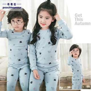 [Ready Stock] Kids Sleepwear for 2 - 12 yrs old - Light Grey Bunny Hat