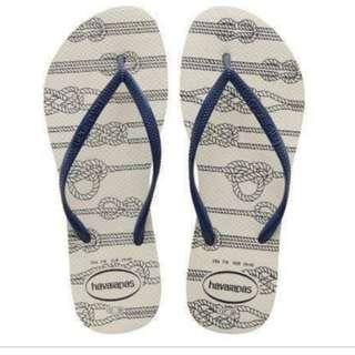 Havaianas Slim Nautical White Slippers