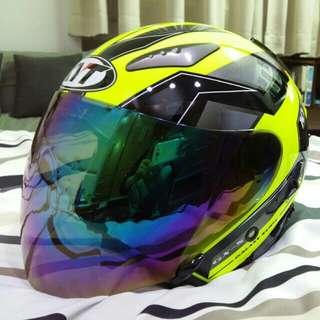 KYT DJ 3/4安全帽,內建墨片+電鍍彩繪鏡片,彩繪螢光黃