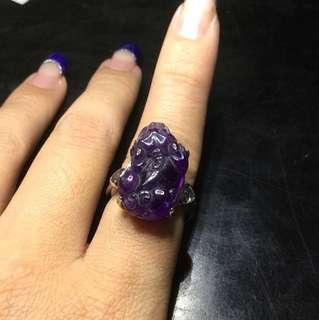 🚚 清倉促銷。紫水晶🔮貔貅925銀戒指