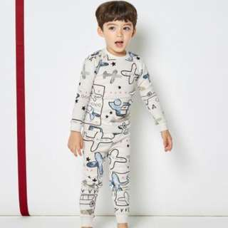 [Ready Stock] Kids Sleepwear for 2 - 12 yrs old - White Aeroplane