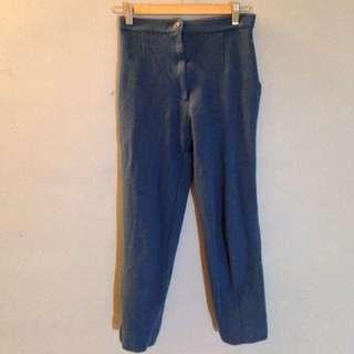 日本古著藍色羊毛料高腰老爺褲西裝褲長褲 vintage 復古