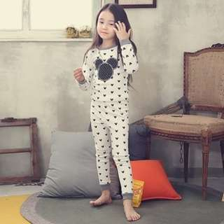 [Ready Stock] Kids Sleepwear for 2 - 12 yrs old - White Mickey