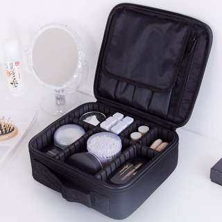 Makeup bag with brush compartment