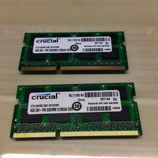 Crucial 8GB DDR3-1066 SODIMM Memory / RAM for Mac (4GB x 2)