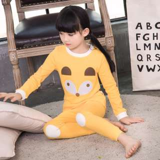 [Ready Stock] Kids Sleepwear for 2 - 12 yrs old - Yellow Fox Face