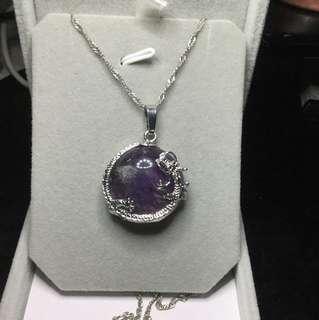 🚚 清倉促銷。紫水晶🔮龍形項鍊