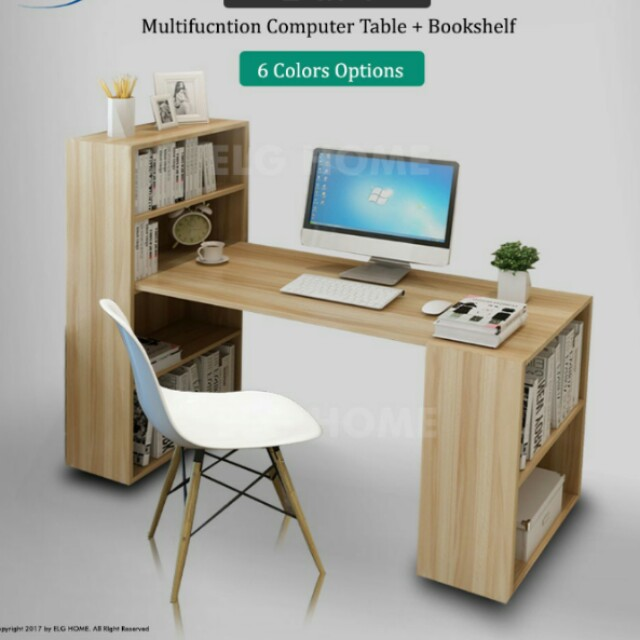 2 In 1 Compact Computer Table Study Desk Bookshelf Furniture Tables Chairs On Carousell