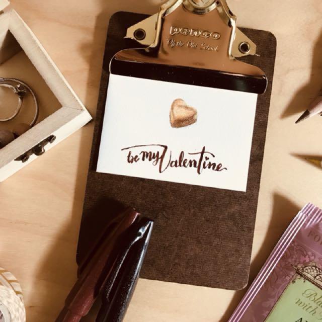 手繪情人節心意小卡片(7.5cmx5cm - HKD$38)。 簡單的訊息,實在的傳遞