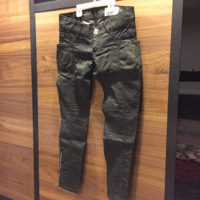 二手!9成新女版日本SLY錐形寬口袋拉鍊石蠟牛仔褲,激瘦必備款