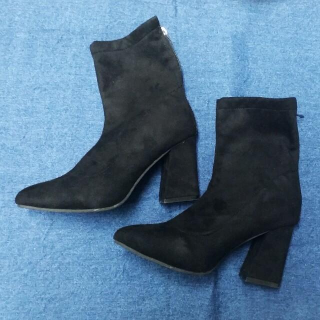 歐美黑色鹿皮後拉鍊粗跟高跟踝靴襪靴裸靴