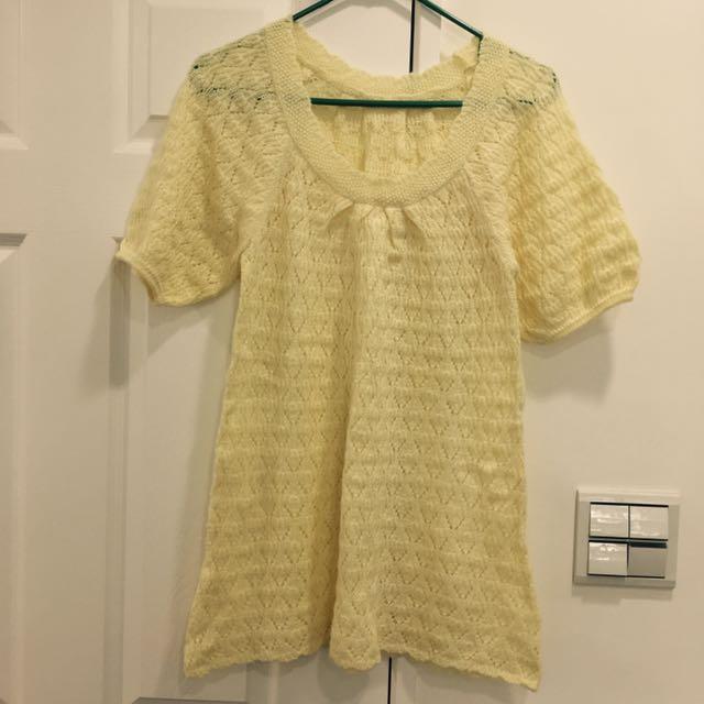 轉賣)韓國淡鵝黃針織上衣