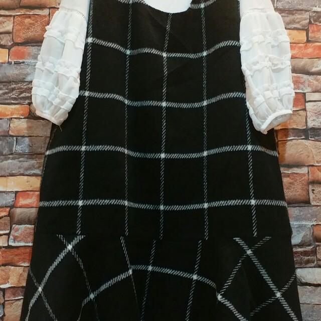 格紋毛料背心裙