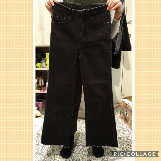 微喇叭黑色牛仔褲