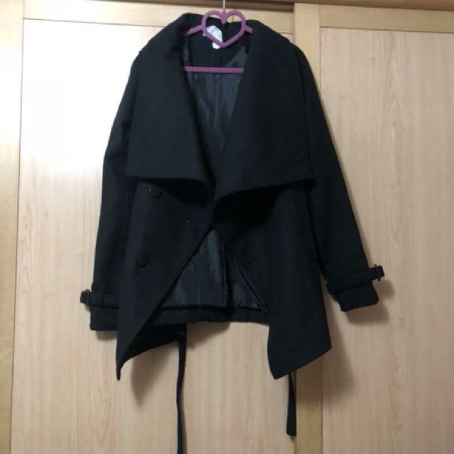 國外品牌 大翻領方釦縮腰綁帶毛呢短版大衣外套