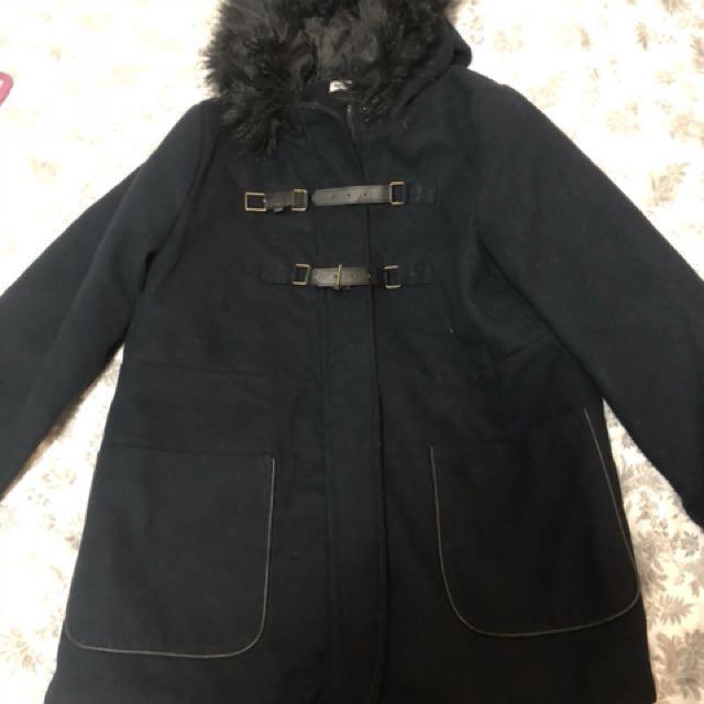 國外品牌 深藍色拉鍊皮帶釦毛呢毛毛領厚實夾棉連帽大衣外套