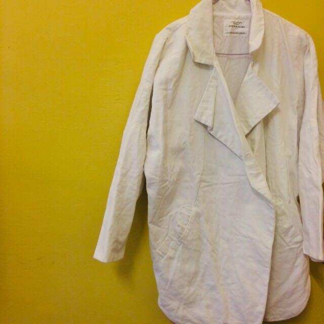 韓國 帆布白色大衣