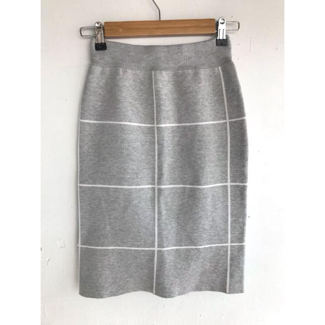 正韓 條紋針織短裙