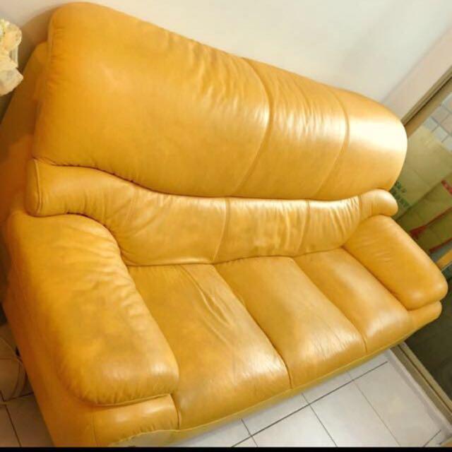 再降~搬家隨便賣‼️小牛皮/真皮 高級訂製三人座沙發