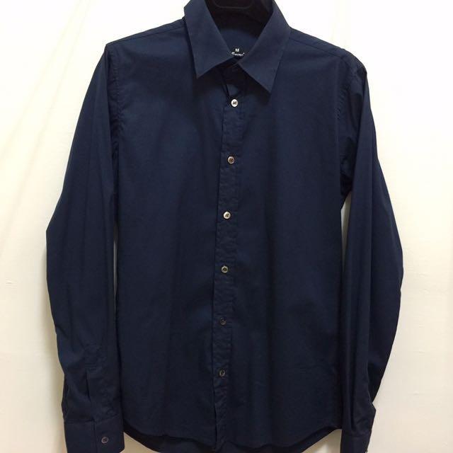 深藍 合身版 襯衫