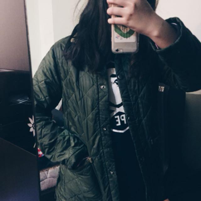 古著美品 英製 軍綠格紋外套