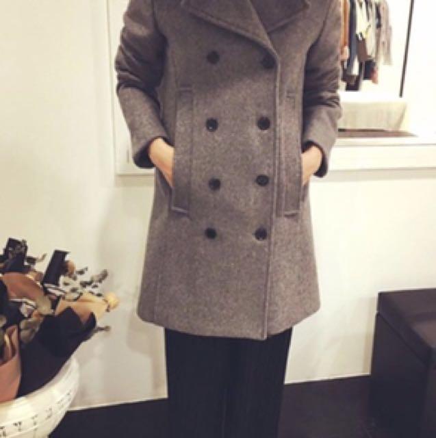 正韓 羊毛 灰色挺版外套