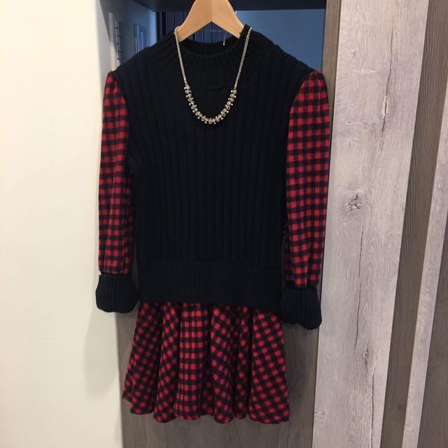 (全新)坑條 毛料 格紋 洋裝(賣場任選兩件低價者打七折)