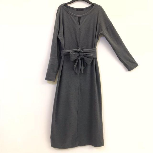 (全新)灰色 長版 棉質 長袖洋裝