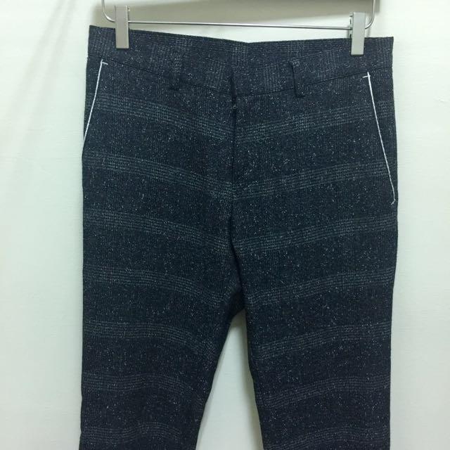 深色 窄管 織紋 休閒 9分 西褲 Skinny