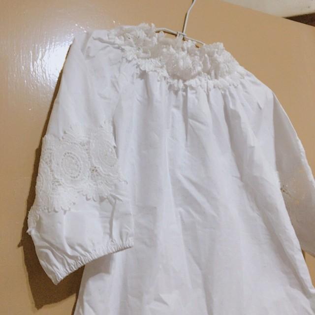 平口 提花 蕾絲 白色 上衣