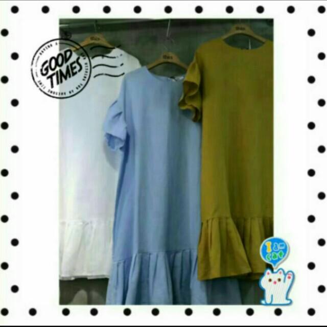 韓國品牌河葉袖洋裝 裙子 長洋 設計款 A字裙 短洋裝