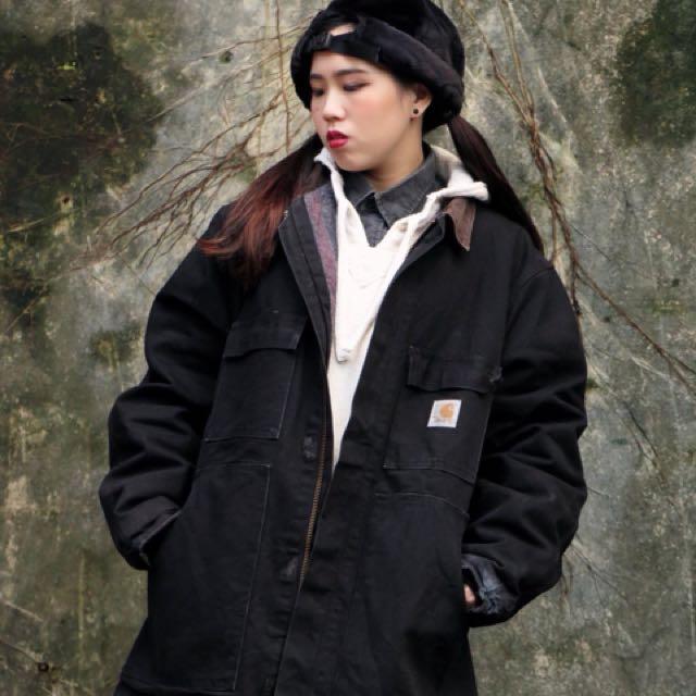 黑色 carhartt刷毛 軍工裝外套