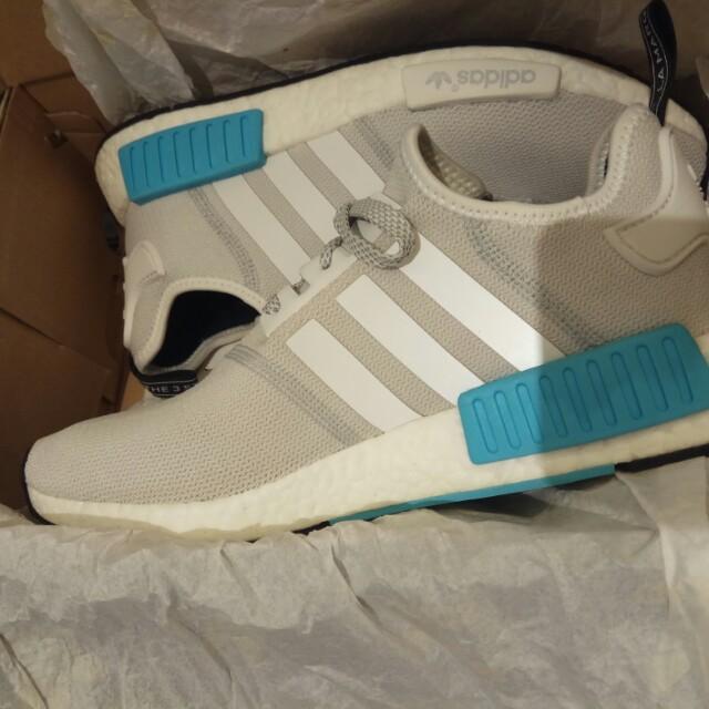 promo code 3f8dc afa6f Adidas NMD R1 white/bright cyan, Men's Fashion, Footwear on Carousell
