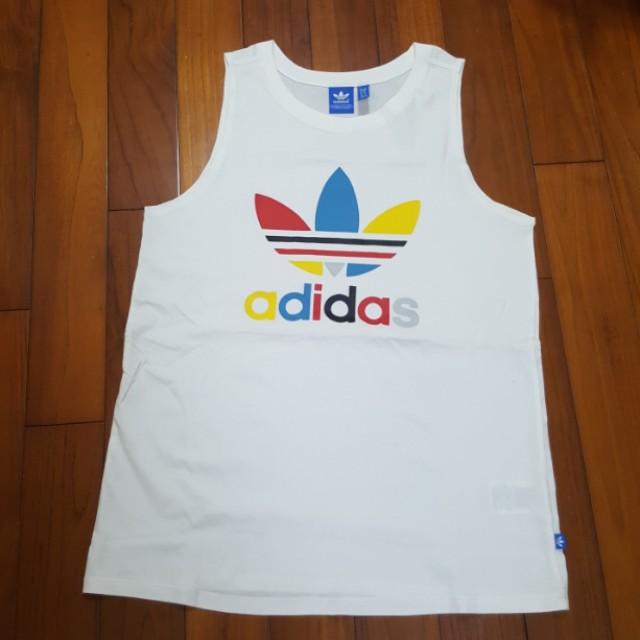 Adidas original 彩色大logo背心
