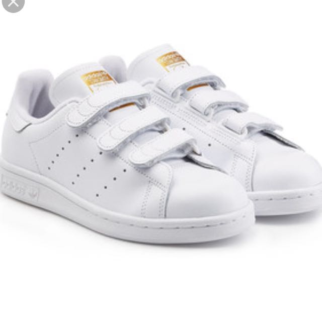 89f921ac7a7d0f Adidas Stan Smith White Gold Metallic Velcro