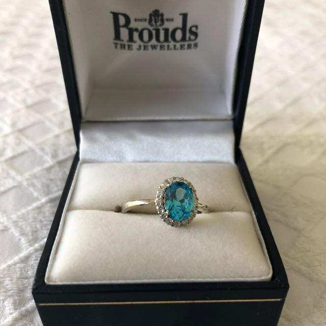 Aqua diamond ring