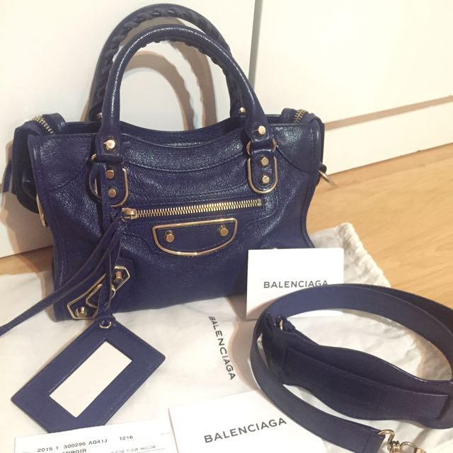 Balenciaga Mini City Metallic Edge Bleu Roi