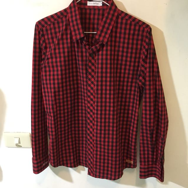 Bevian 黑紅格襯衫