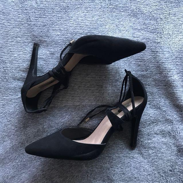 Billini Black Suede Lace Up Heels